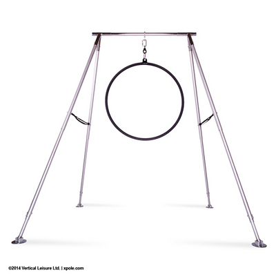 Hanging on Portable Rig Black X-Pole Pro Hoop (25mm width) - Single Point Lyra - Aerial Yoga Gear Uplift Active