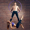 Man & Woman Hanging on Black X-Pole Pro Hoop (25mm width) - Double Point Lyra - Aerial Yoga Gear Uplift Active