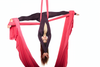 Woman on Red Nylon Tricot Aerial Fabric - Aerial Yoga Gear
