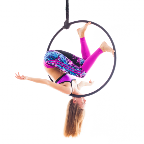 Lady on Black X-Pole Pro Hoop (25mm width) - Single Point Lyra - Aerial Yoga Gear Uplift Active