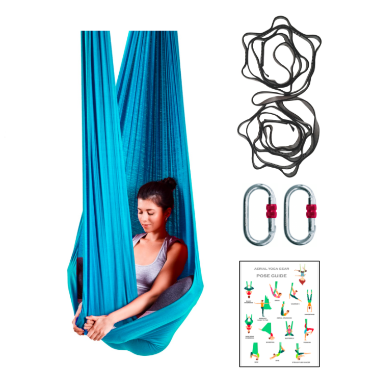 Blue Aerial Yoga Hammock Set with Rigging Equipment - Aerial Yoga Gear Uplift Active