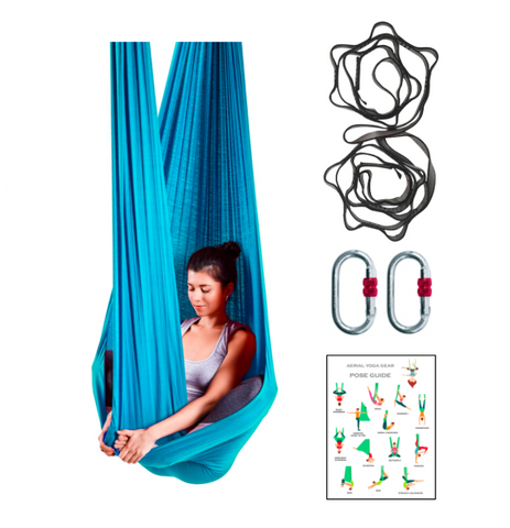 Blue aerial Yoga Hammock with accessories