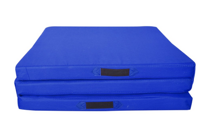 Easy Storage Blue Folding Three Panel Gymnastics Mat - Aerial Yoga Gear  - Uplift Active