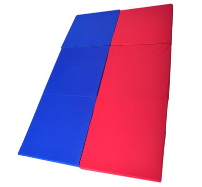 Red & Blue Folding Three Panel Gymnastics Mat - Aerial Yoga Gear - Uplift Active