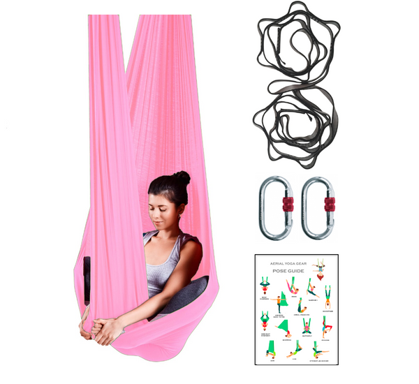 light pink or pastel pink aerial yoga hammock