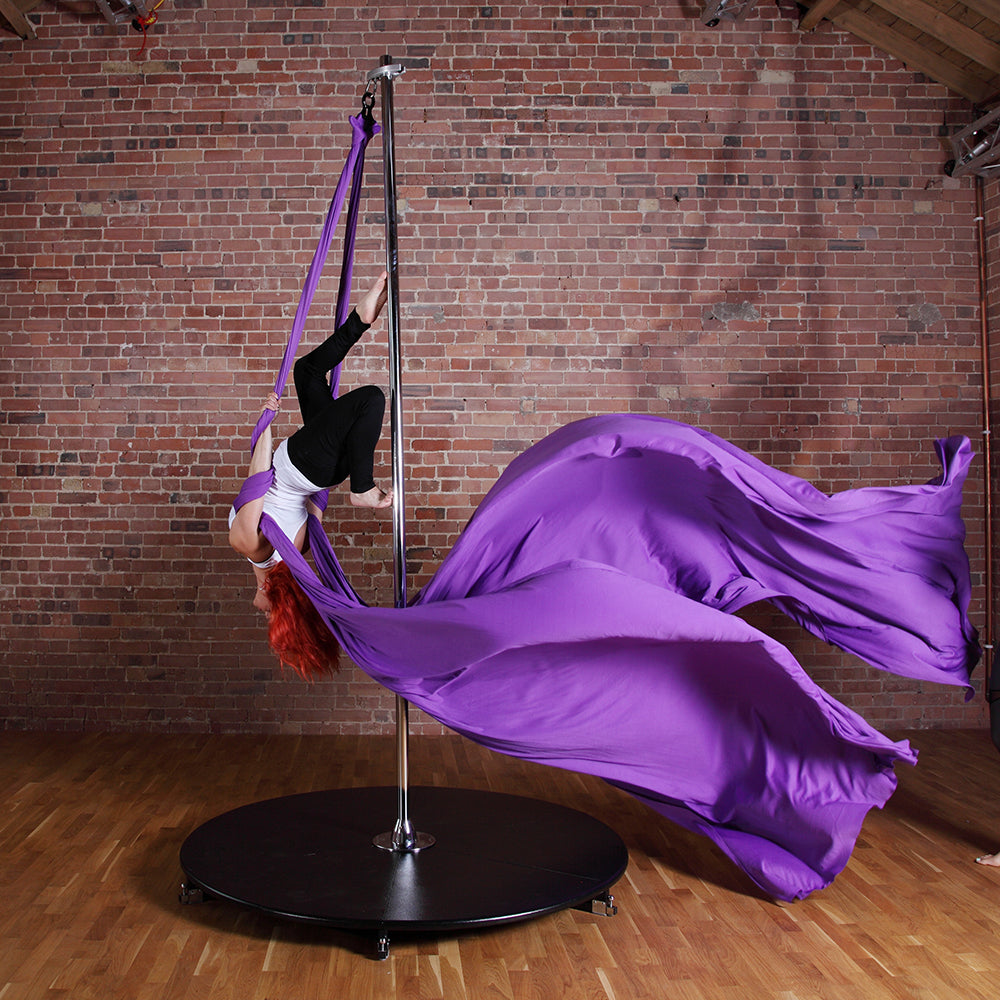 Woman in Purple Aerial Silks with Silkii Attachment X-Pole - Uplift Active