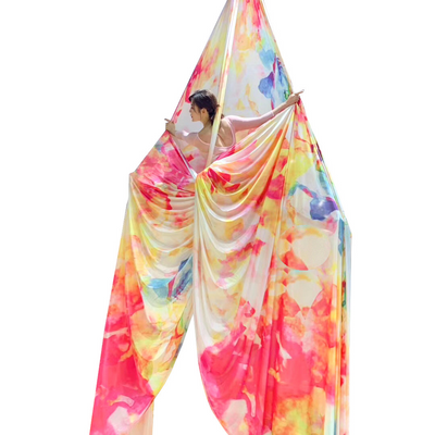 Woman on Watercolor Batik Aerial Silks Aerial Yoga Fabric - Uplift Active