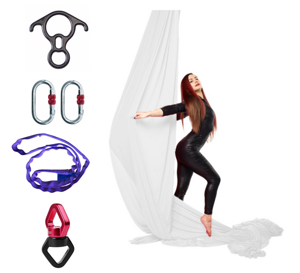 White Aerial Silks Set with Hardware
