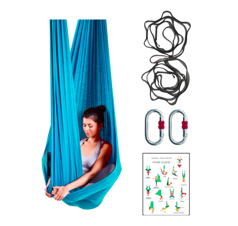Blue Extended Sizes Yoga Hammock + Rigging Equipment - Uplift Active