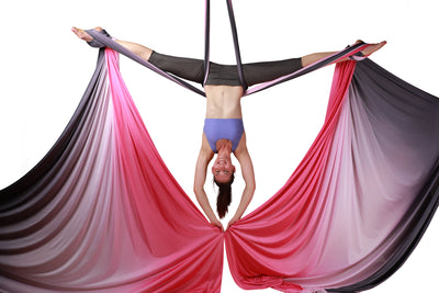 Pink Black  Ombre Aerial Silks Set with All Hardware - Uplift Active