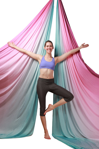 Purple Blue Ombre Aerial Silks Set with All Hardware - Uplift Active