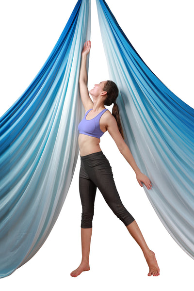 Blue  Ombre Aerial Silks Set with All Hardware - Uplift Active