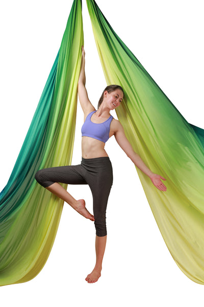 Yellow Green  Ombre Aerial Silks Set with All Hardware - Uplift Active