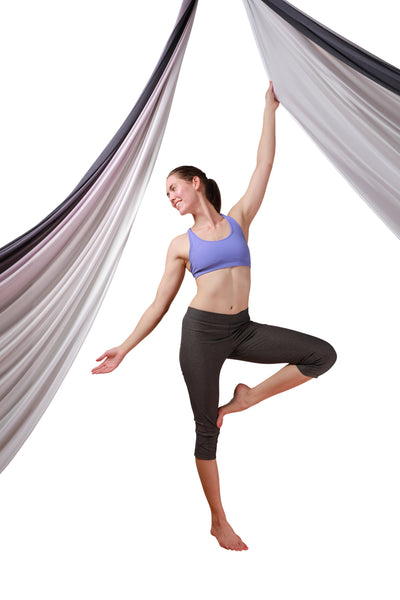 Black White Ombre Aerial Silks Set with All Hardware - Uplift Active