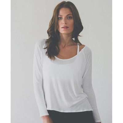White Open Back Long Sleeve Knit Top Front View - Uplift Active