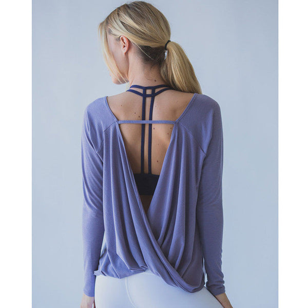 Open Back Long Sleeve Knit Top - Aerial Yoga Gear
