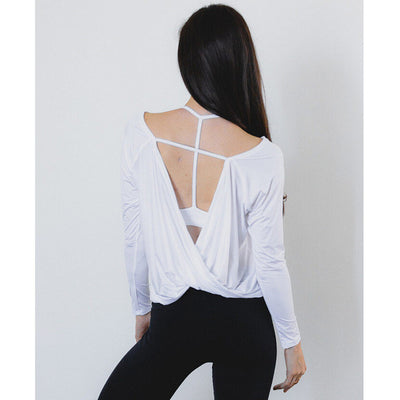 White Open Back Long Sleeve Knit Top Back View- Uplift Active