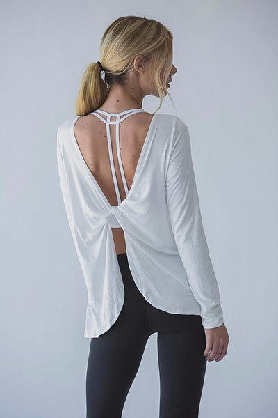 White Open Back Drape Top Back View- Aerial Yoga Gear - Uplift Active