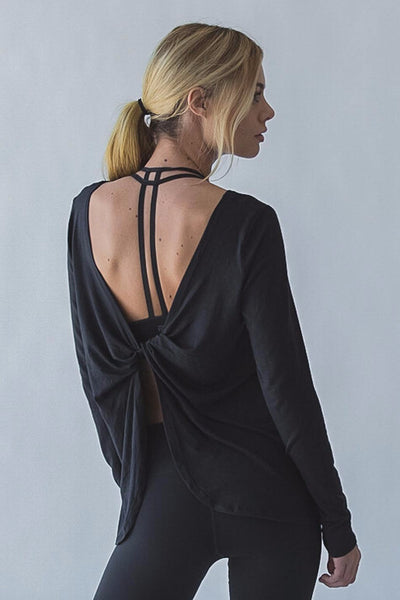 Black Open Back Drape Top Back View- Aerial Yoga Gear - Uplift Active