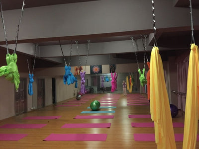 Aerial Studio with Green, Yellow, Blue, Pink Yoga Hammock