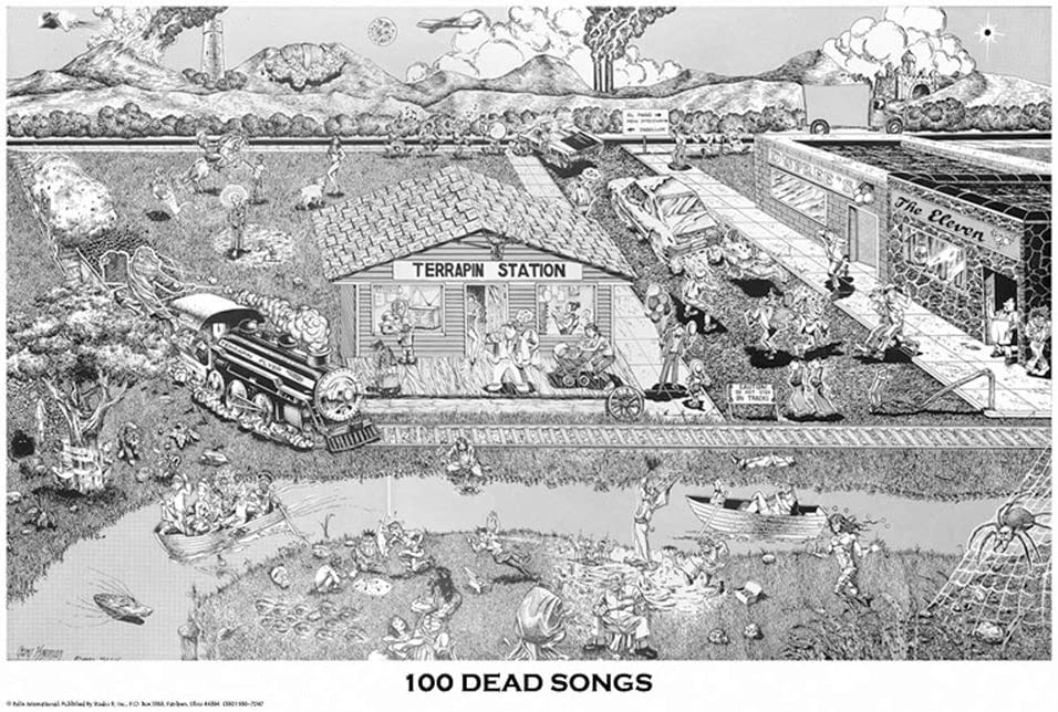 "Grateful Dead 100 Songs Poster 24"" x 36"""