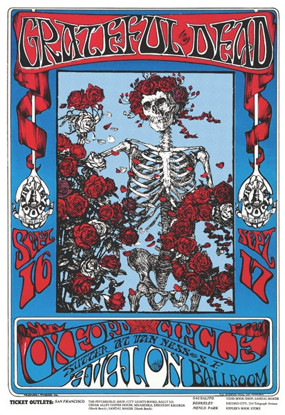 "Grateful Dead Bertha Skull and Roses Poster 24"" x 36"""