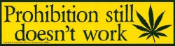 "Prohibition Still Doesn't Work - Hemp Liberation Bumper Sticker / Decal (11.5"" X 3"")"