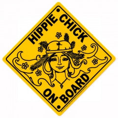 "Hippie Chick on Board - Bumper Sticker / Decal (4"" Square)"