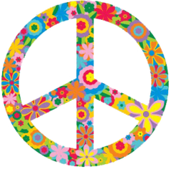 "Flower Peace Sign - Window Sticker / Decal 5"" x 5"""