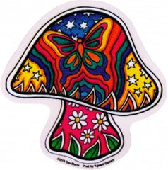 "Butterfly Mushroom - Window Sticker / Decal (4"" x 4"")"