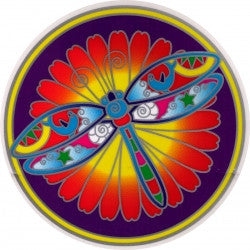 "Dragonfly Mandala - Window Sticker / Decal (5.5"" Circular)"