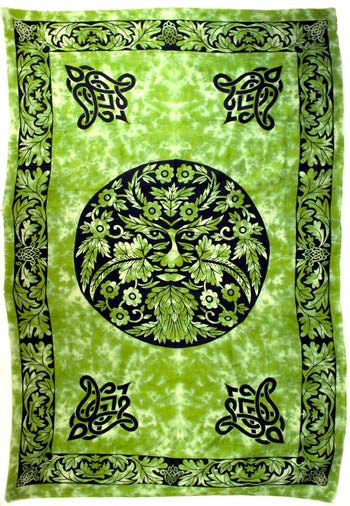 "Green and Black Green Man Tapestry 72"" x 108"""