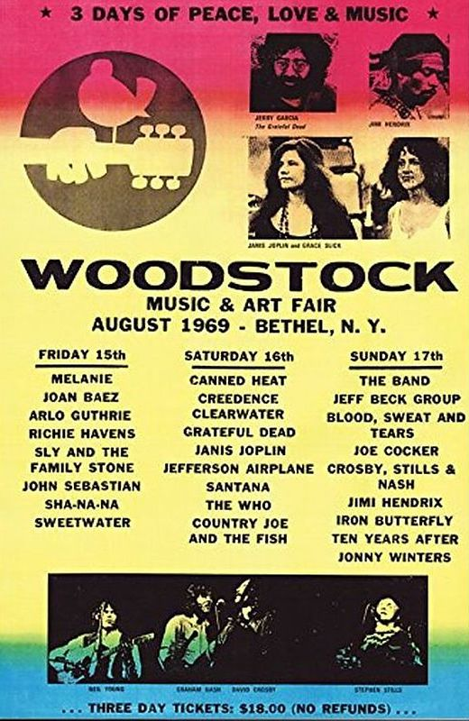 "Woodstock Line-up Poster 24"" x 36"""