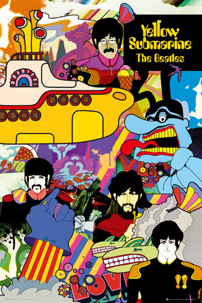 "Beatles Yellow Submarine Movie Poster 24"" x 36"""