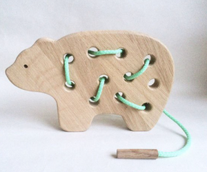 Wooden Bear Lacing Toy