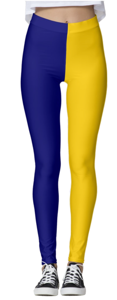 Navy Blue & Yellow Leggings
