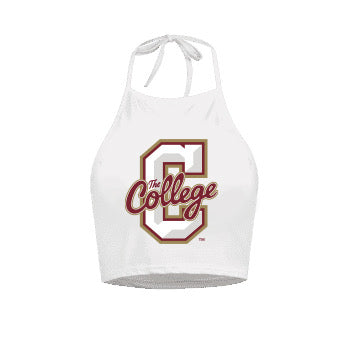 College of Charleston White Halter Top