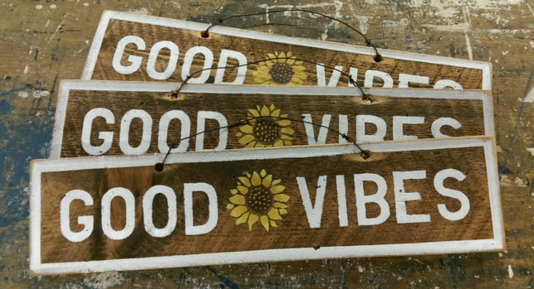 Good Vibes Sunflower Wooden Sign - lo + jo, LLC
