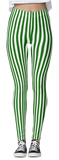Green & White Thin Striped Leggings