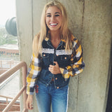 College Flannel Jean Jacket - lo + jo, LLC