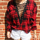 College Lace Up Flannel - lo + jo, LLC
