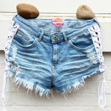 White Lace Up Jean Shorts - lo + jo, LLC