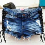 Black Lace Up Jean Shorts - lo + jo, LLC