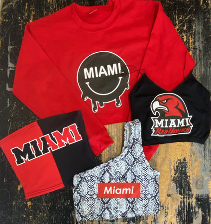 Miami University Red Smiley Cropped Crewneck