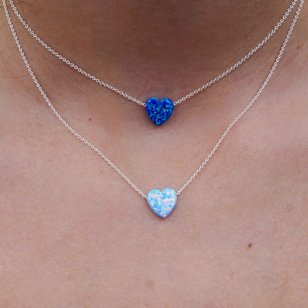 Blue Opal Heart Necklace - lo + jo, LLC