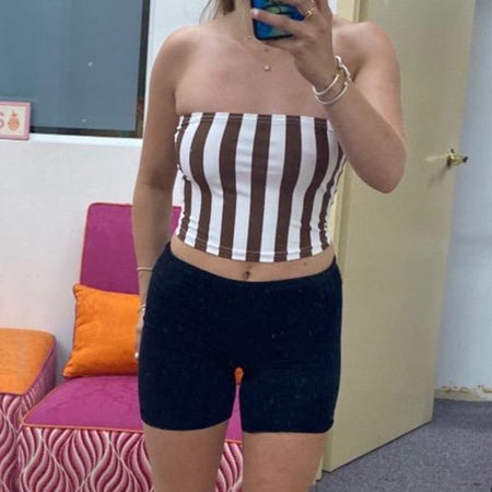 Brown & White Striped Tube Top