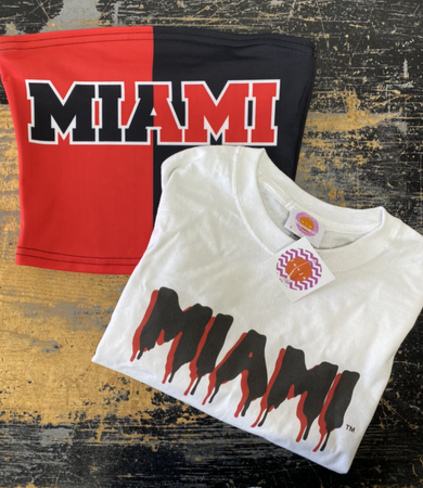 Miami University White Drip Cropped Tee