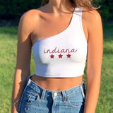 Indiana Script Stars One Shoulder Top