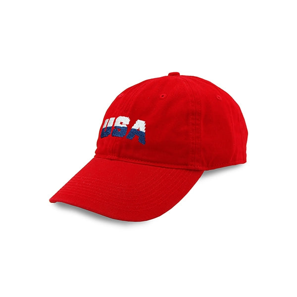 Red USA Needlepoint Hat