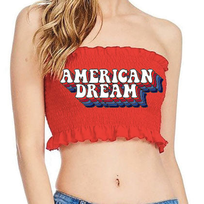 Retro American Dream Red Smocked Tube Top